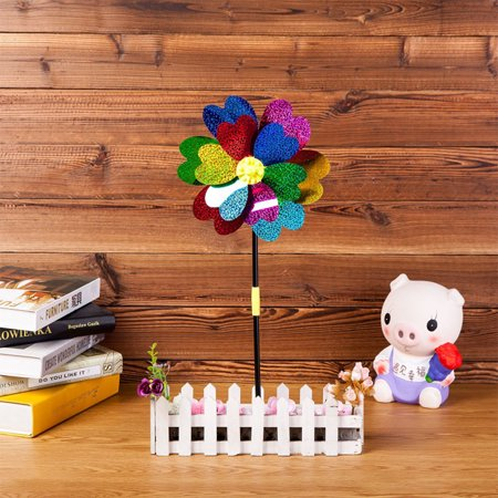 Cartoon Unique Plastic Windmill Kids Pinwheel Toy Garden Lawn Party Decor Toy Color:Double-layer laser windmill - Pinwheel Toy