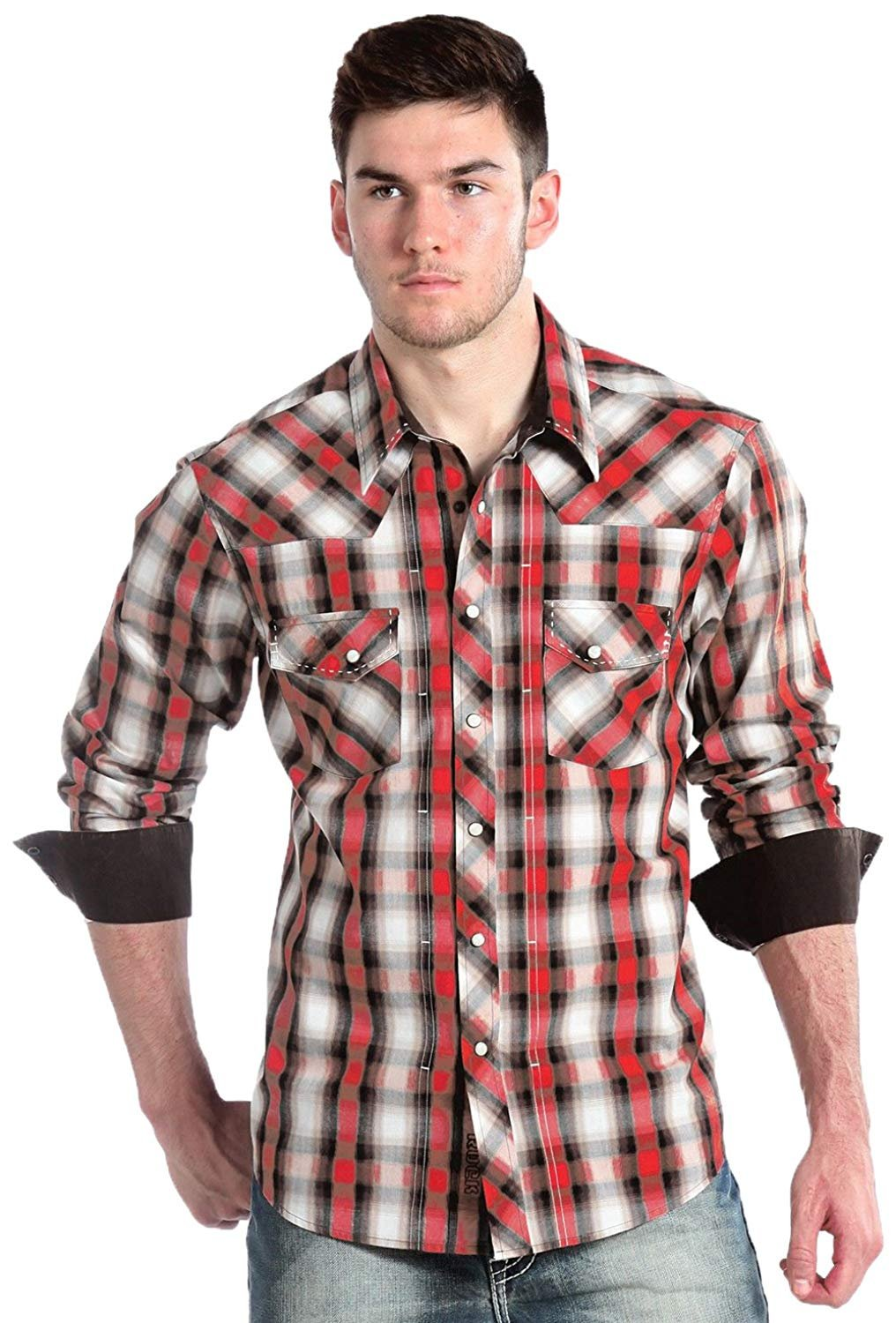Rock An Roll Cowboy Poplin Plaid With Saddle Stitching Long Sleeve