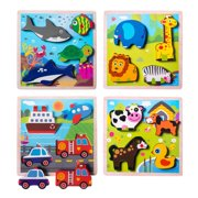 Eliiti Wooden Chunky Puzzles Set for Toddlers 2 to 4 Years Old - Vehicles, Farm, Safari, Sea Animals