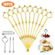 3 Tier 10 Sets Cake Stand, Crown Fruits Cupcakes Stand Holder Cake Holder, Cake Plate Stand Anchor Hardware Kit Centre Handle Fittings for Birthday Party,Wedding - Golden/Silver