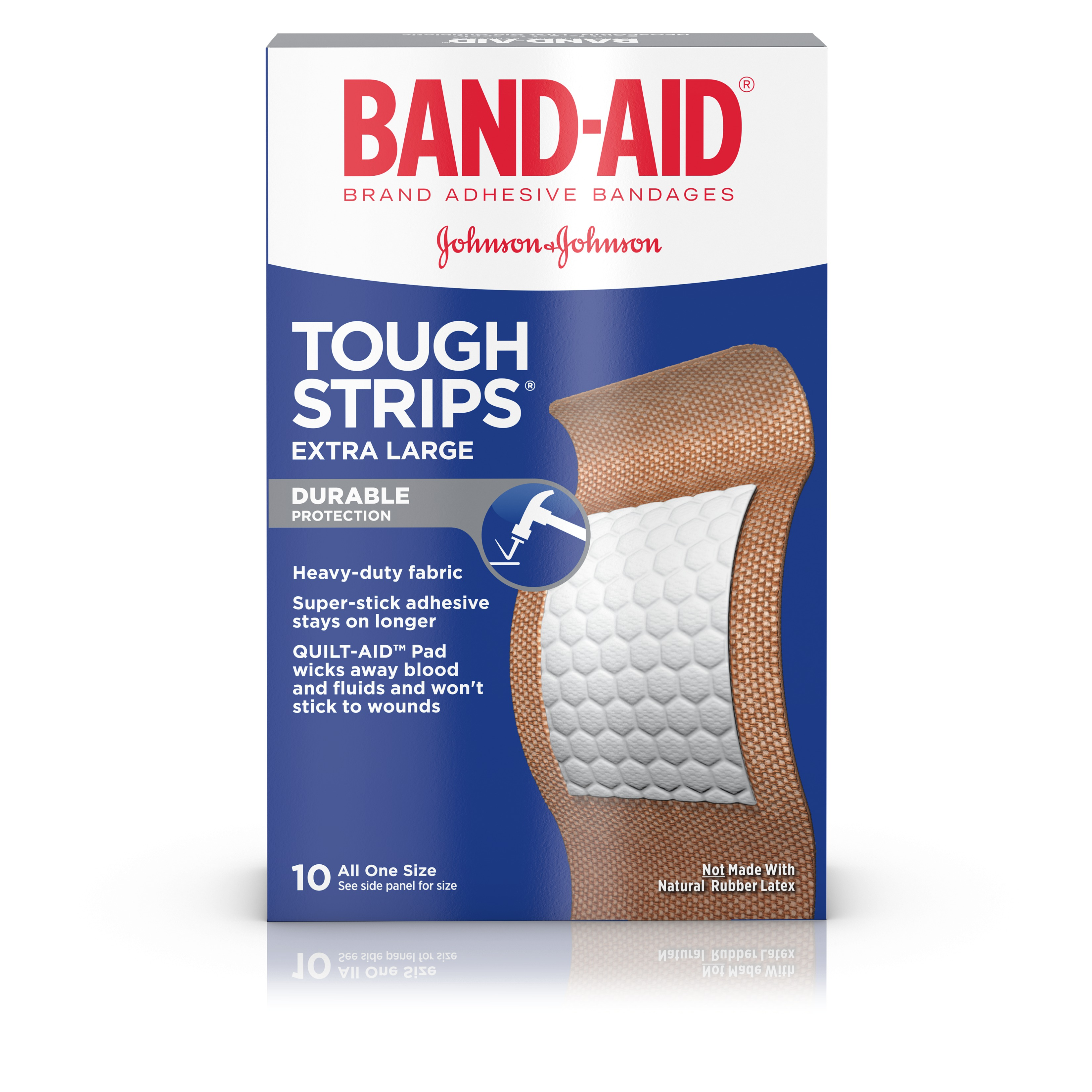 Band-Aid Brand Tough-Strips Adhesive Bandage, Extra Large Size, 10 ct
