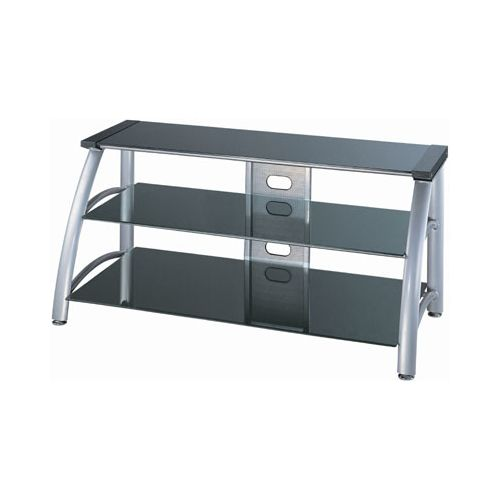 Lite Source LSH-5607 3 Tier TV Stand Silver Chrome   Black Glass from the Arch C by Lite Source