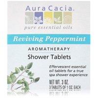 Aura Cacia Shower Tablet Peppermint Reviving, 3 Ounce