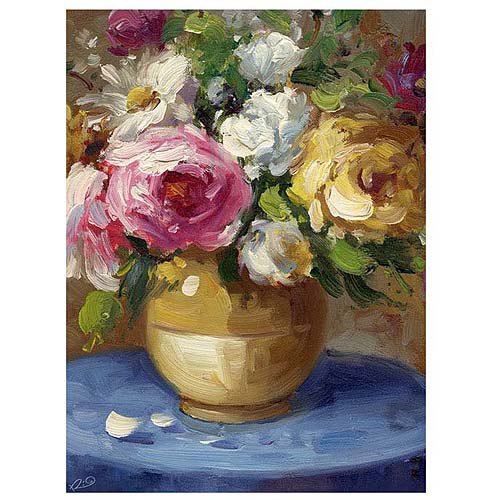 "Trademark Fine Art ""Flowers in a Gold Vase"" Canvas Art"