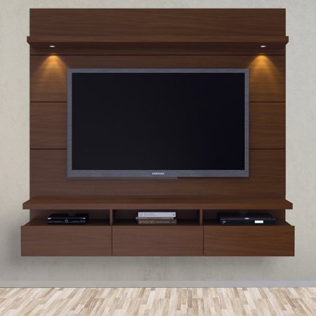 Manhattan Comfort Cabrini 1.8 Series 71″ TV Stand in Nut Brown