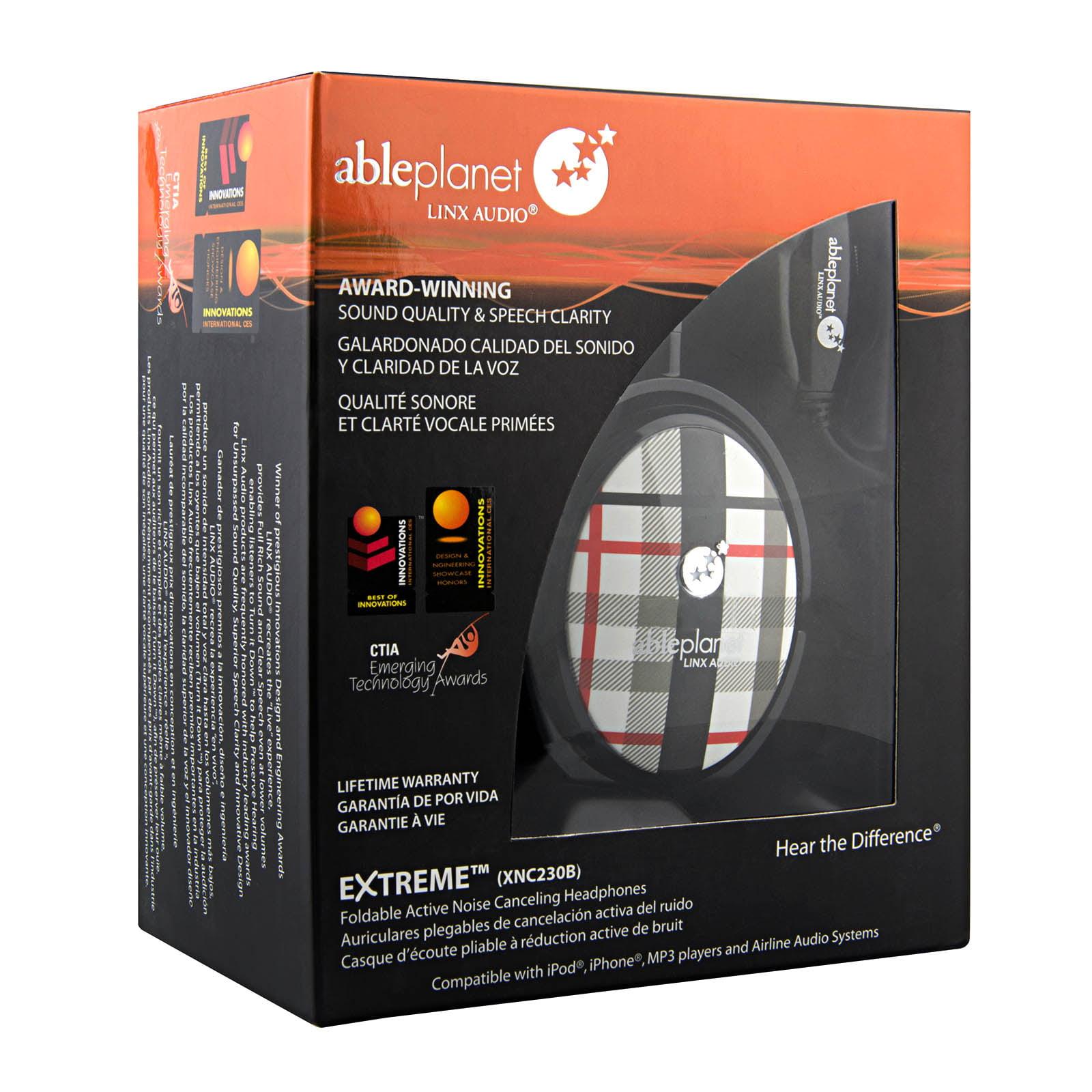 Able Planet XNC230 Extreme Foldable Noise Canceling Headphones  - Black Plaid