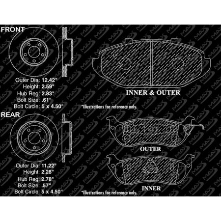 Max Brakes Front & Rear Elite Brake Kit [ E-Coated Slotted Drilled Rotors + Ceramic Pads ] KT056383 | Fits: 1999 99 Mercury Grand Marquis w/ Phenolic (Plastic) Piston Rear Calipers - image 5 of 8