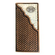 Western Men's Basketweave Genuine Leather Longhorn Long Cowhide Stud Bifold Wallet