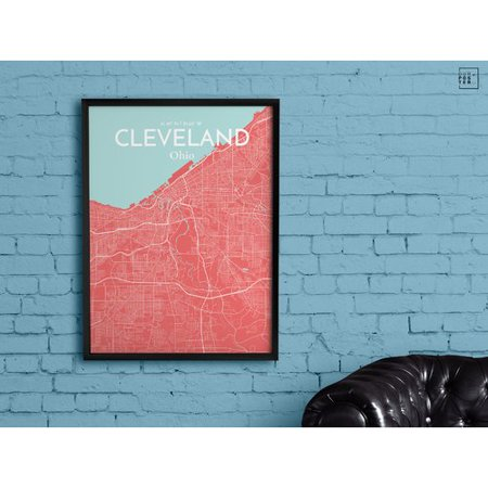 Ourposter Com Cleveland City Map Graphic Art Print Poster In Maritime