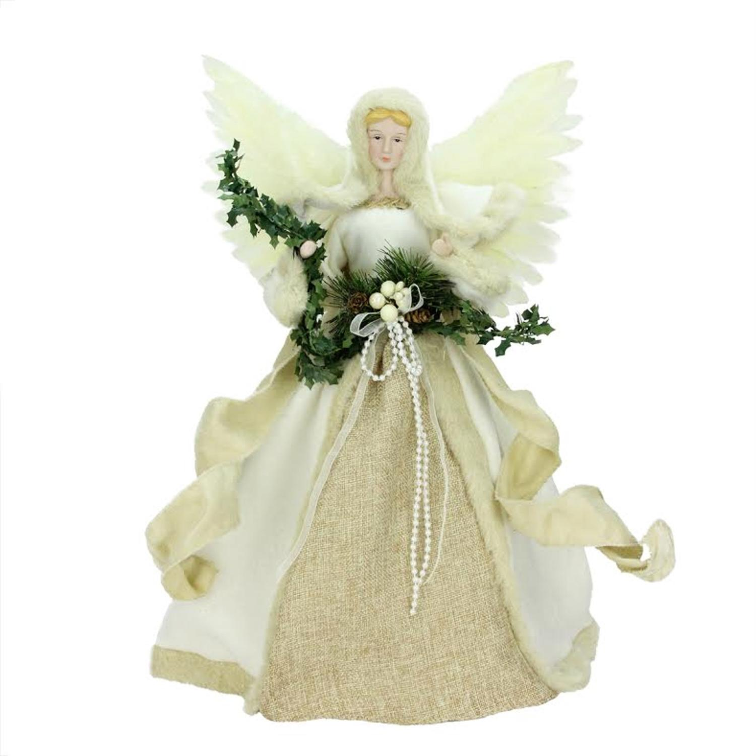 """17"""" Woodland Inspired Ivory Angel Christmas Tree Topper"""