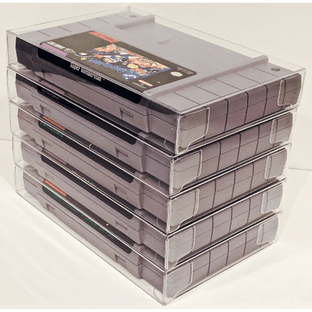 5  Clear Game Cart Cartridge Protectors Sleeve Case for SNES  Super Nintendo