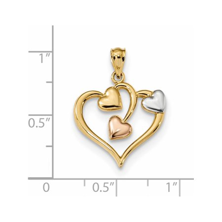 14k Two-Tone Gold  & Rose w/Rhodium Polished Three Hearts (18.6x24.1mm) Pendant / Charm - image 2 of 2