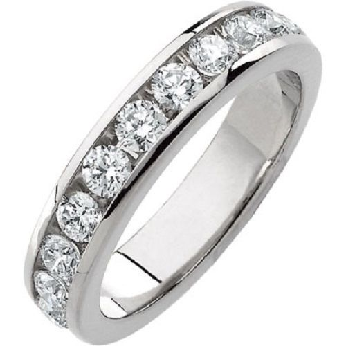 Platinum 1.65ct Round Cut Diamond Anniversary Wedding Band, Size 6, Channel Set, 1 6ct each by