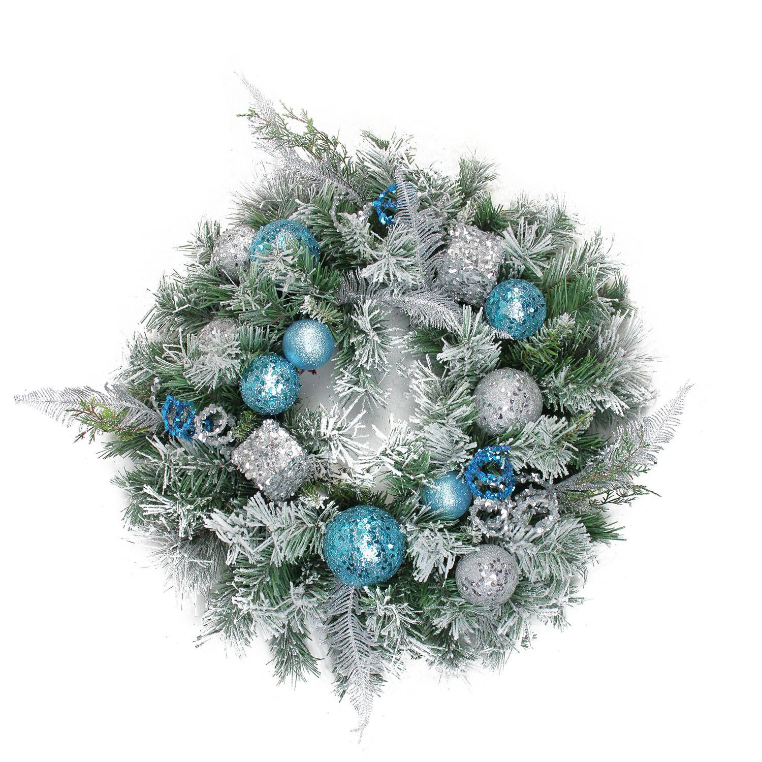 "24"" Flocked Blue and Silver Sequin Ornaments Artificial ..."