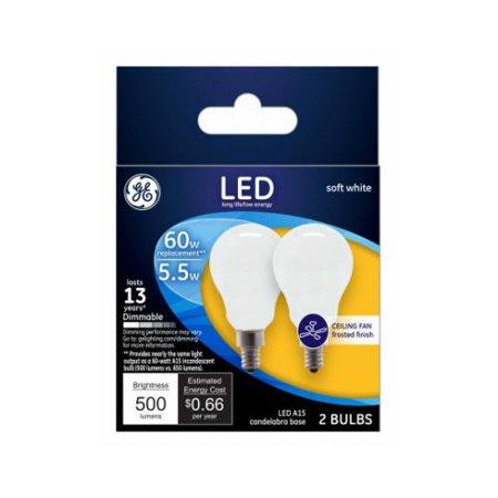 G E Lighting 24949 GE2PK 5.5W LED Fan Bulb