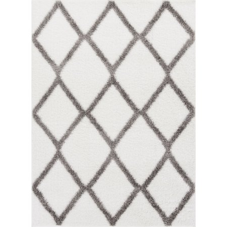 Well Woven Luxy Soft and Plush Moroccan Trellis Shag Modern Area Rug Luster Pile Dense Plush Carpet (Gray Trellis Carpet)