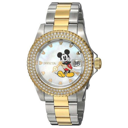 24752 Women's Disney Angel MOP Dial Two Tone Yellow Gold Steel Crystal Dive Watch