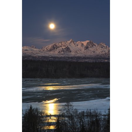 Over The Moon Designs (Super Moon as it descended over the Denali Range and Chulitna River along the Parks Highway Trapper Creek Alaska United States of America Poster Print by Ed Boudreau  Design Pics)