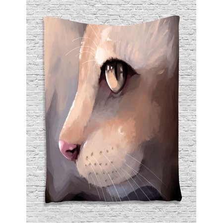 Cat Lover Decor Wall Hanging Tapestry, Illustration Cat Portrait Kitty Zoom Face Big Eyes Whiskers Meow Contemporary Artful Design, Bedroom Living Room Dorm Accessories, By Ambesonne - Halloween Cat Face Designs