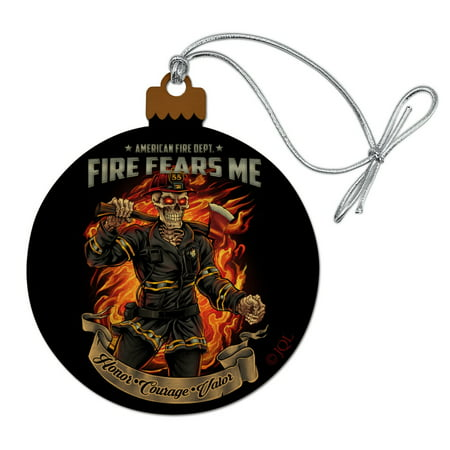 American Fire Department Firefighter Skeleton Fears Me Wood Christmas Tree Holiday Ornament ()
