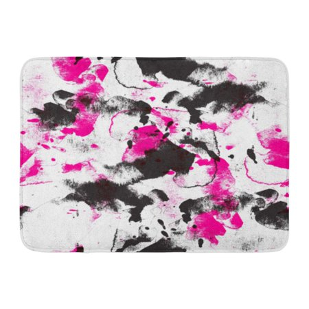 GODPOK Blob Brown Abstract Black and Pink Watercolor in The Style of Pop Orange Beauty Bright Rug Doormat Bath Mat 23.6x15.7 inch - Black And Orange