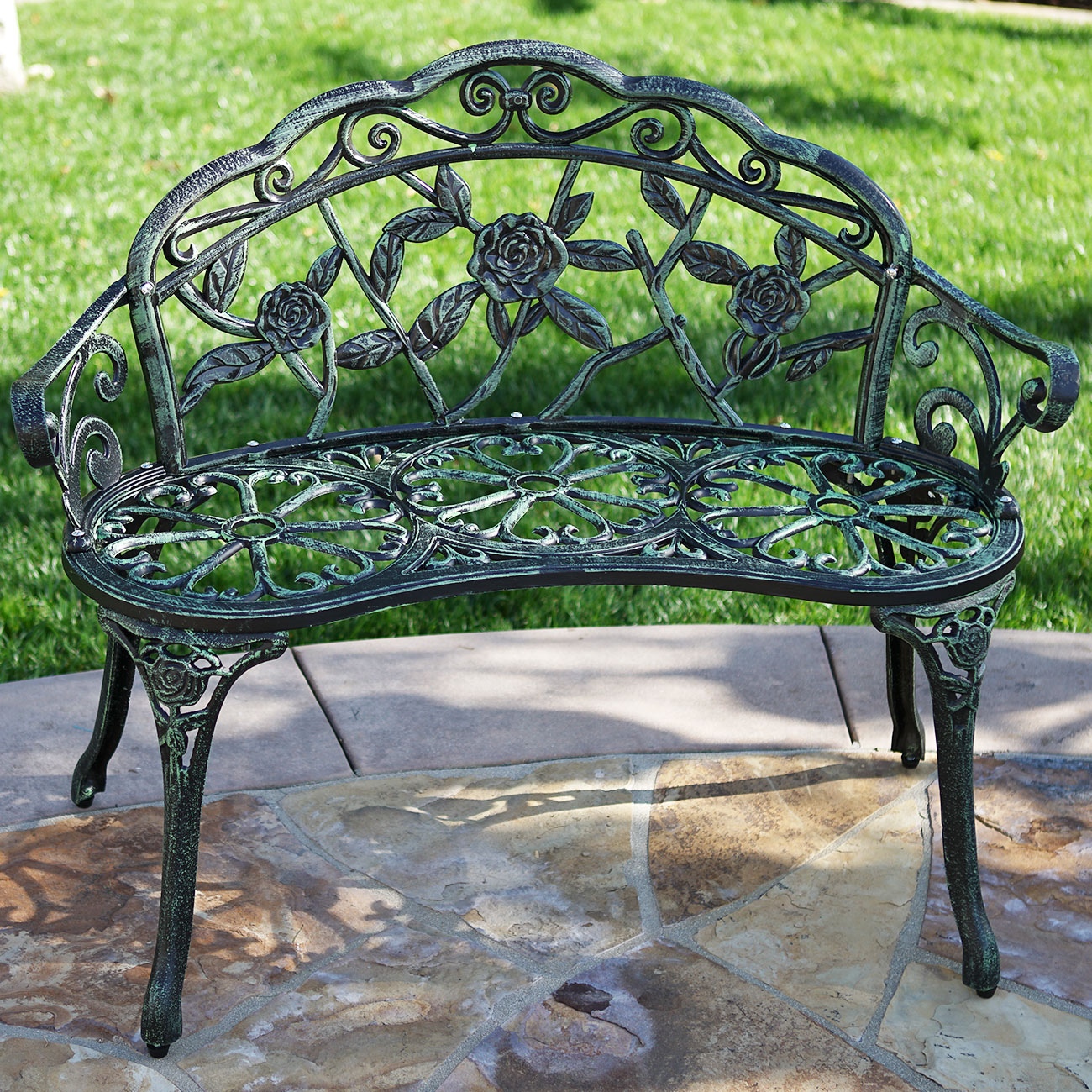 Belleze Rose Iron Garden Bench by Belleze