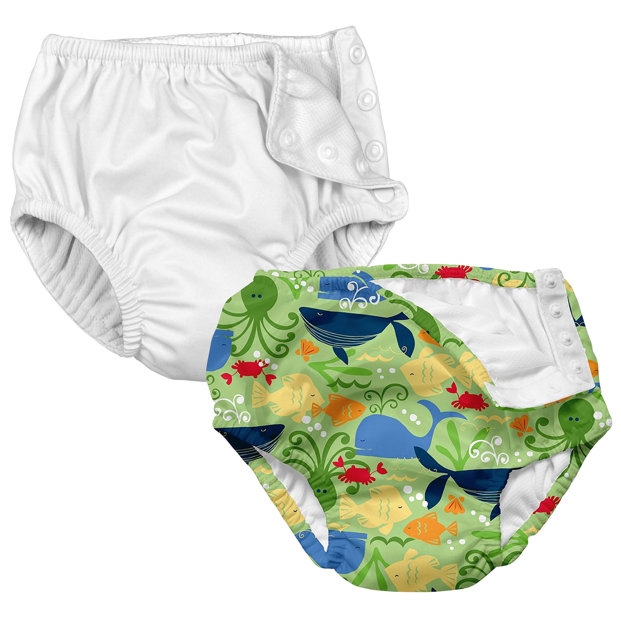 i play Baby and Toddler Snap Reusable Swim Diaper - White and Sealife- 2 Pack
