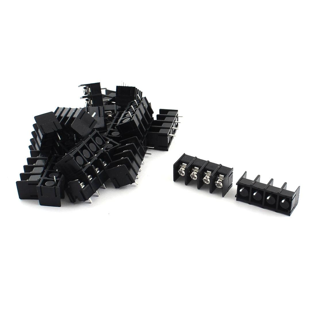 Unique Bargains 20Pcs DG7.62-3P 7.62mm Black Screw Terminal Block Connector 300V 20A AWG22-12