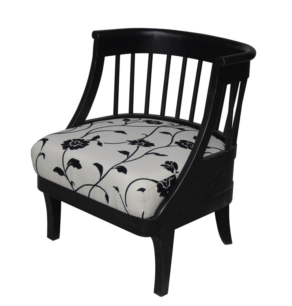 Chair w Upholstered Seat & Rounded Wood Frame in Black