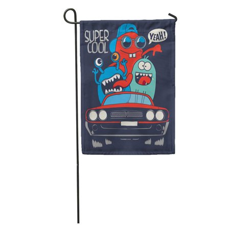 LADDKE Funny Cute Monsters in Car Cool Tee Doodle Fun Garden Flag Decorative Flag House Banner 12x18 inch - Monster Garden Coupon Code