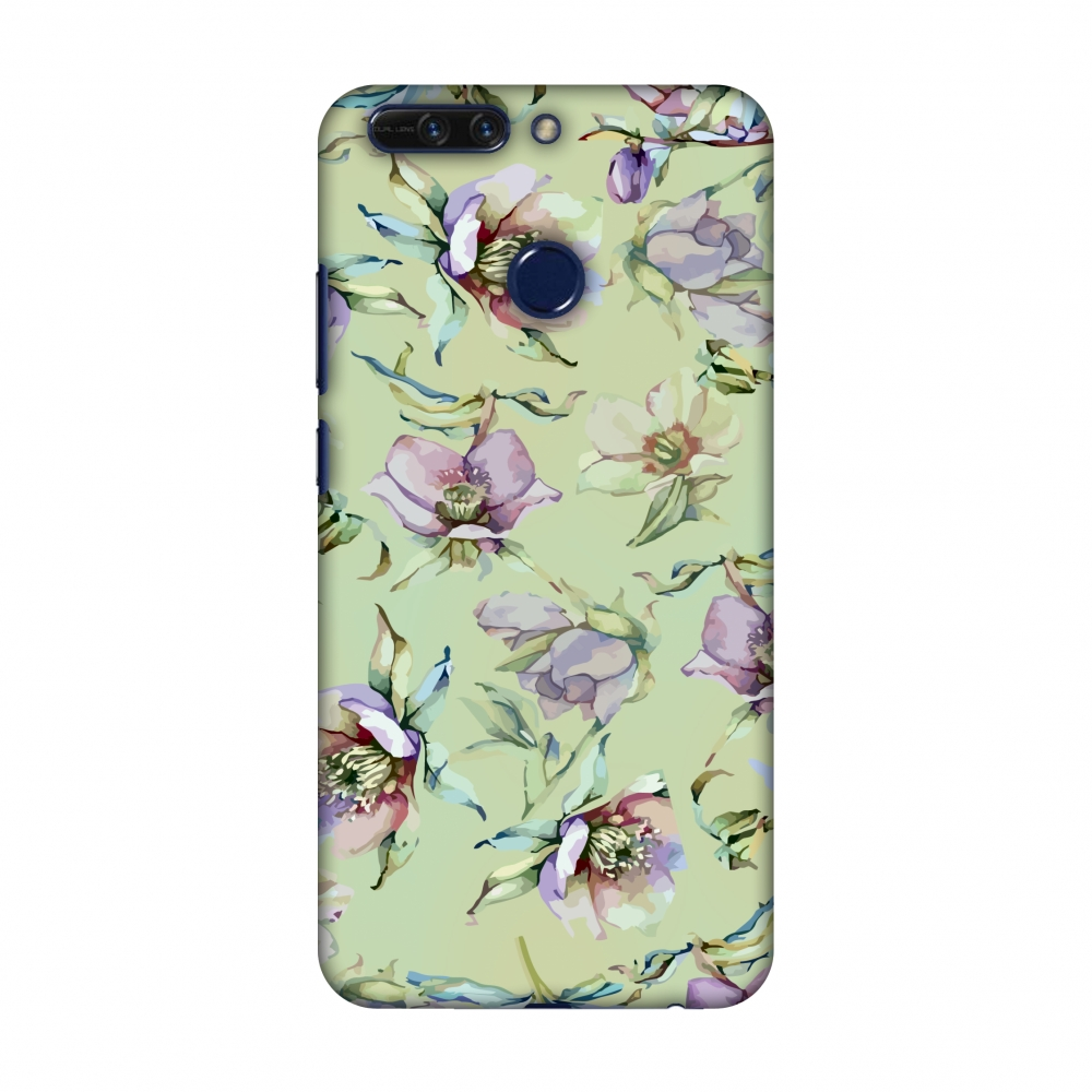 Huawei Honor 8 Pro Case, Premium Handcrafted Designer Hard Snap on Shell Case ShockProof Back Cover for Huawei Honor 8 Pro - Watercolour poppy- Lime green and arctic blue
