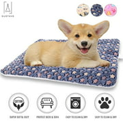 "GustaveDesign Large Dog Pet Sleep Mat Soft Warm Reversible Fleece Crate Bed Mat Kennel Pad Cage Cushion for Large Small Medium Dog Cat ""Blue, L"""