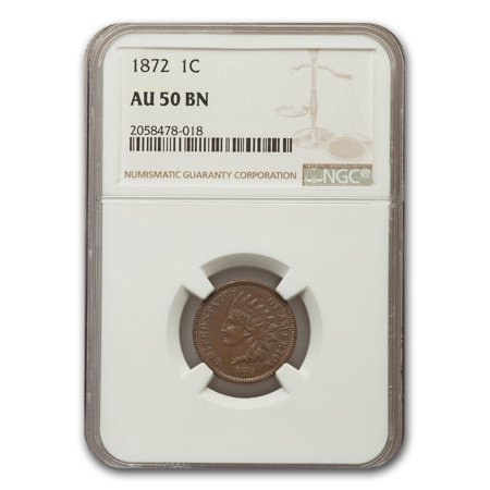 1872 Indian Head Cent AU-50 NGC (Brown) (Euro 50 Cent Coin)