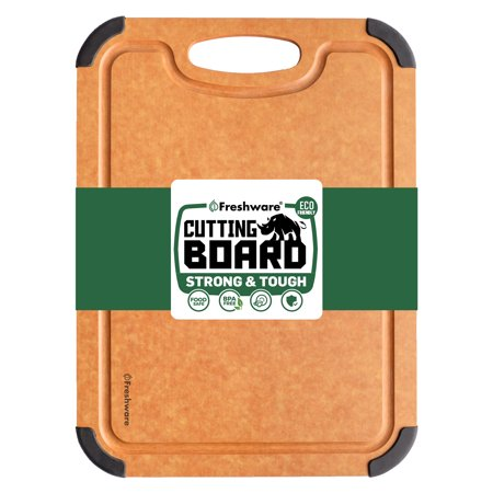 Freshware Cutting Boards for Kitchen [Medium] Eco-Friendly Wood Cutting Board with Deep Juice Grooves, Non-Slip and Easy Grip Handles, BPA-Free, Non-Porous, Dishwasher Safe, 11.7 x 8.5 (Gold Natural Wood Cheese Board)