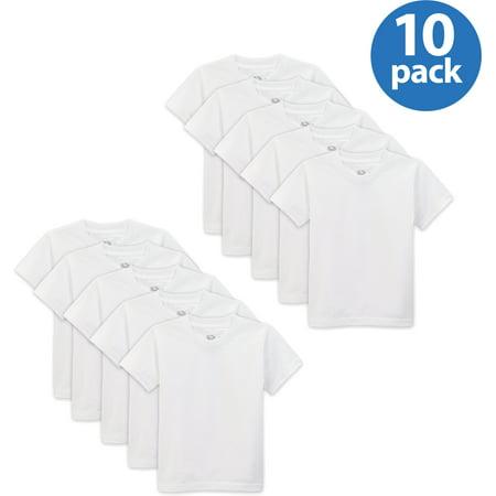 Toddler Boy White Crew T Shirt, 10-Pack Value Bundle ()