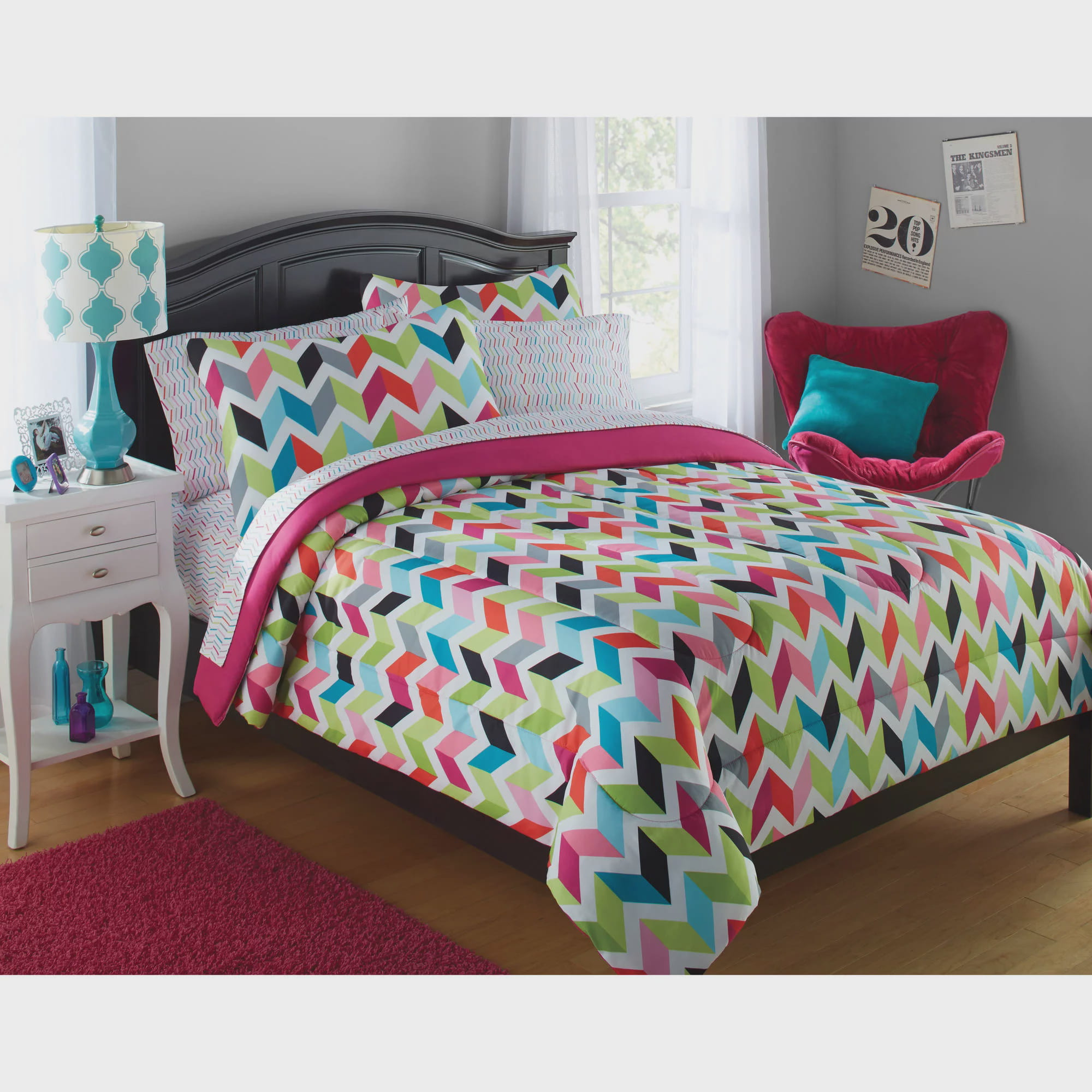 Your Zone Bright Chevron Bed in a Bag Bedding Set Walmartcom