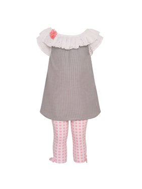 58a04bbd1eee Product Image Rare Editions Baby Girls Grey Stripe Eyelet Tunic 2 Pc  Legging Outfit
