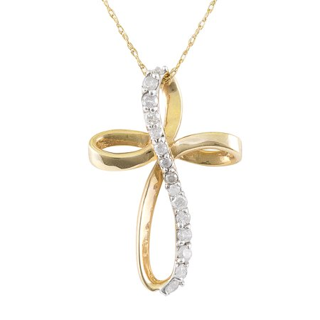 10K Yellow Gold 1/4cttw Natural Round-Cut Diamond (I-J Color, I2-I3 Clarity) Twist Cross Pendant-Necklace,18 Twisted Cross Charm Pendant