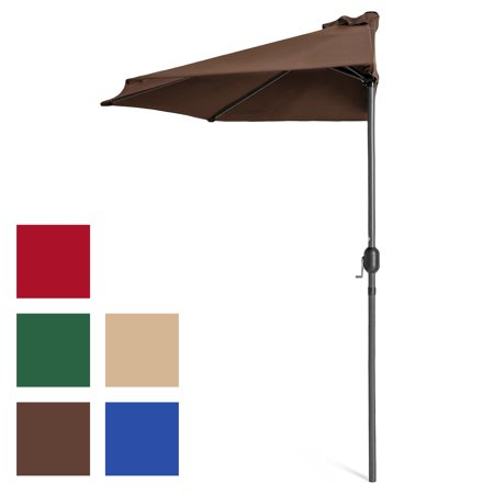 Umbrellas Patio Furniture - Best Choice Products 9ft Steel Half Patio Umbrella for Backyard, Deck, Garden w/ Crank Mechanism, UV- and Water-Resistant Fabric - Brown