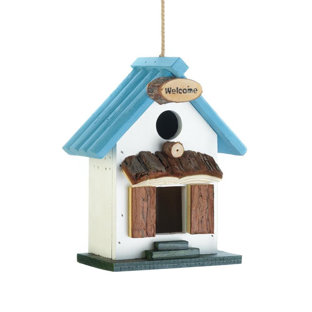 Hanging Bird House, Blue Rooftop Wooden Outdoor Decorative Rustic Birdhouse