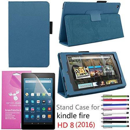2016 Amazon Fire Hd 8  Case  Epicgadget Tm  Auto Sleep Wake Premium Pu Leather Folding Folio Case For  6Th Generation Fire Hd 8  8  Hd Display Tablet   1 Screen Protector   1 Stylus  Navy Blue