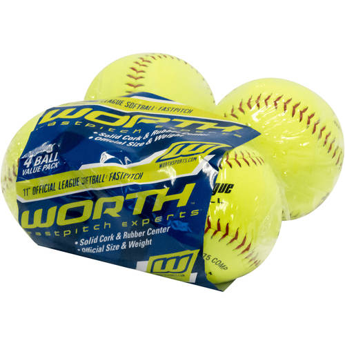 "Worth 11"" Fastpitch 4-Pack of Softballs YWCS11-SW4"