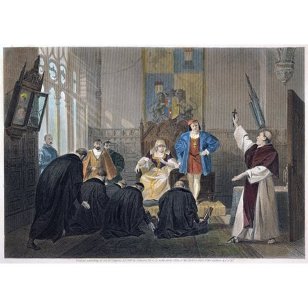 Ferdinand And Isabella Na Deputation Of Spanish Jews Before Queen Isabella And King Ferdinand Prior To The Expulsion Of Jews From Spain In 1492 Steel Engraving American 1869 Rolled Canvas Art -  (24