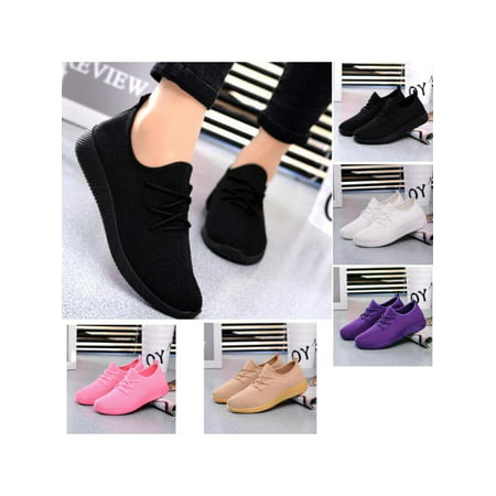 Womens Casual sport shoes Athletic Sneakers Running Breathable Mesh walking Flat ()