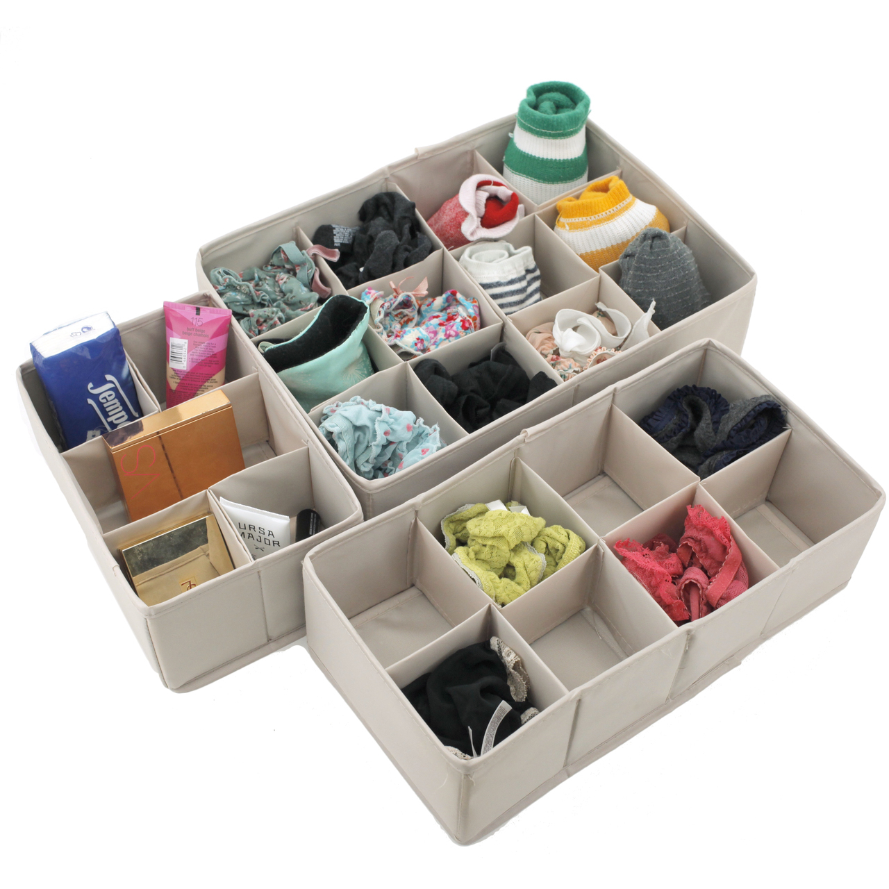 SET OF 3 - Shelf Drawer Vanity Organizers for Underwear, Boxers, Hosiery, Socks, Cosmetics, Wires, and Crafts - Adjustable Dividers