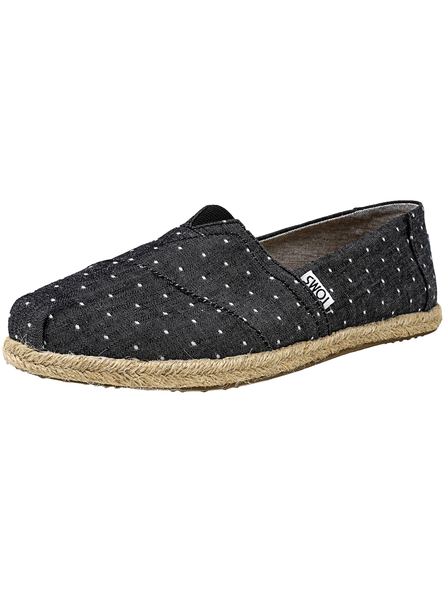 TOMS Women's Classic Chambray Rope Sole Black Dot Ankle-High Canvas Slip-On Shoes - 6.5M 6dtuIr