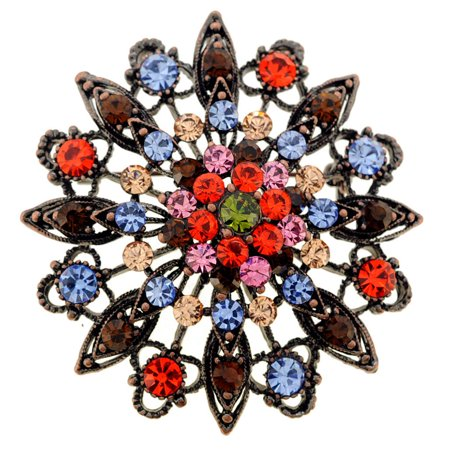Antique Style Multicolor Flower Wedding Crystal Pin Brooch and Pendant