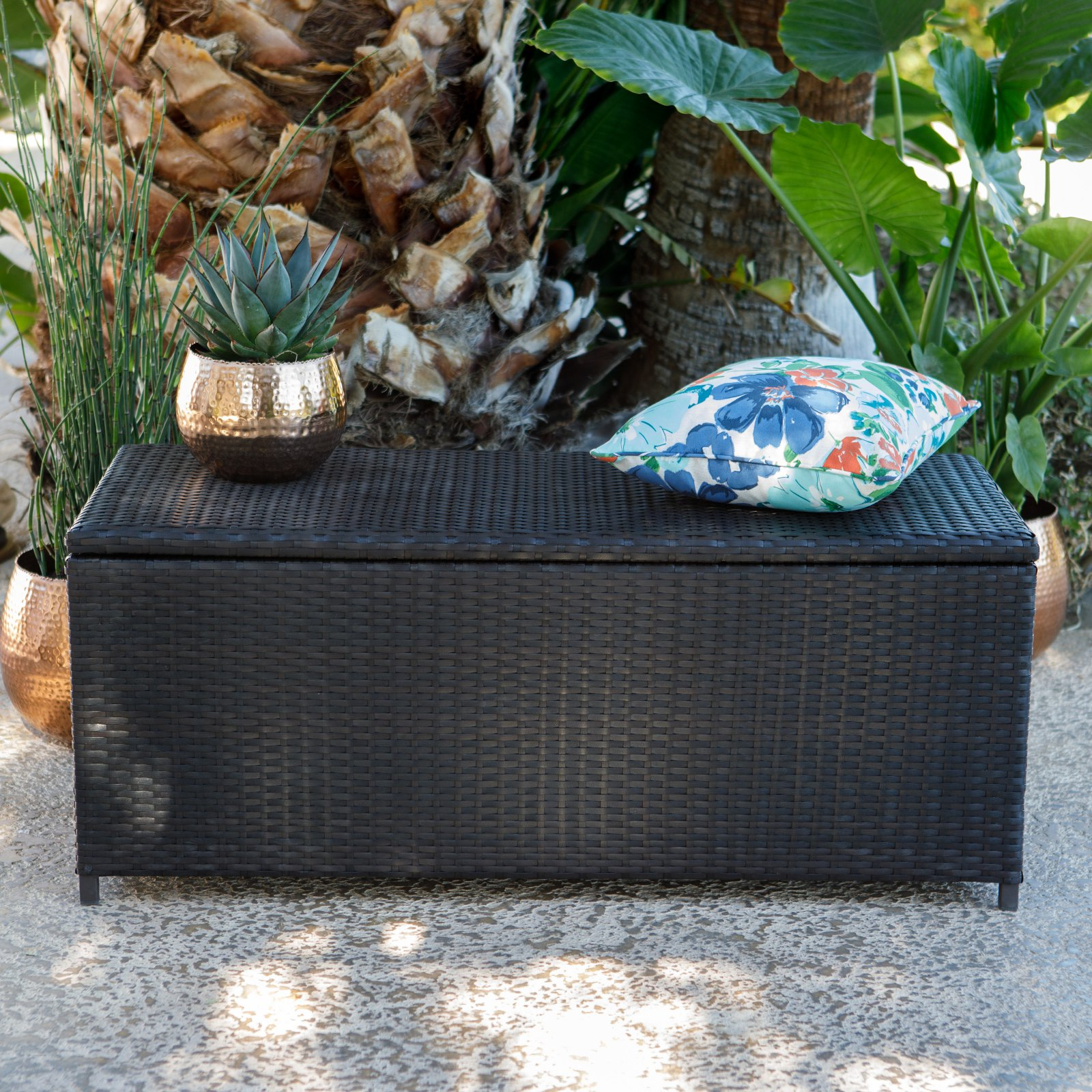 Coral Coast Berea Wicker Storage Bench Brown by