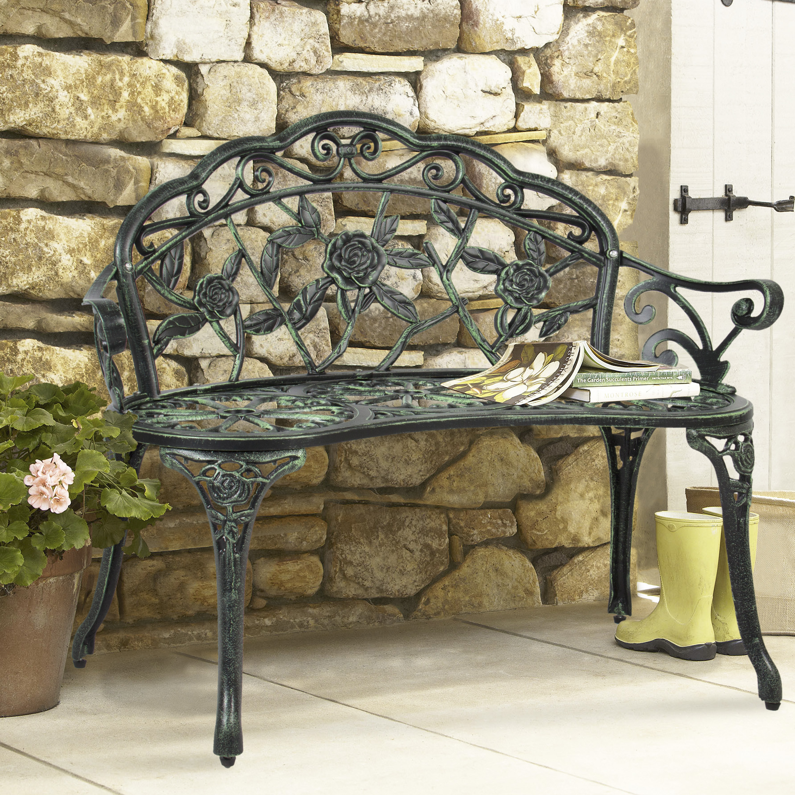 Best Choice Products Floral Rose Accented Metal Garden Patio Bench w  Antique Finish Black by Best Choice Products