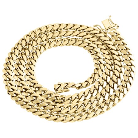 14K Yellow Gold Solid Miami Cuban Link Chain 7mm Box Clasp Necklace 24 Inches 14k Gold Miami Cuban Link